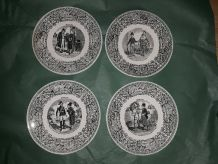 4 anciennes assiettes parlantes années 1900