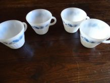 lot de 4 tasses vintage à motif fleur