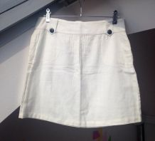 Mini jupe en coton blanc taille 38