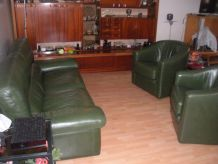 Ensemble canapé et 2 fauteuils vert foncé