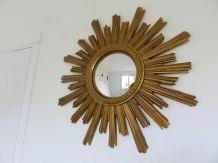 Grand miroir soleil doré oeil de sorcière années 60/70
