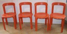 Série de quatre chaises vintage Bruno Rey