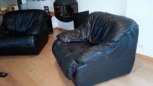 2 Fauteuils cuir noir