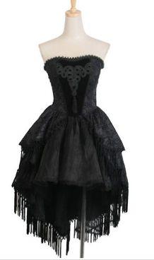 Robe gothique bustier noir brodé Punk Rave