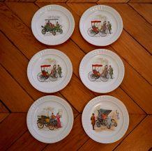 lot de 6 assiettes à dessert vintage en porcelaine Pontesa I