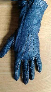 Blandine - Gants vintage chevreau bleu pétrole à surpiqûres