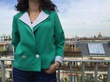 Alexine - Veste vintage courte bicolore - Taille 38/40/M