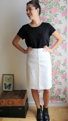 Célestine - Jupe blanche boutonnée vintage longueur genou