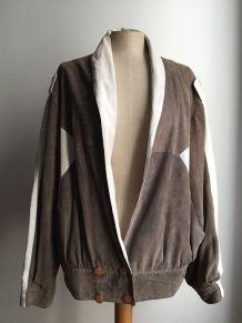 Billie - Veste en cuir de chevreau bicolore vintage