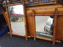 2 miroir en bambou vintage
