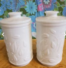 2 gros pot style apothicaire opaline