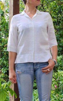 Chemisier femme en lin blanc taille 36