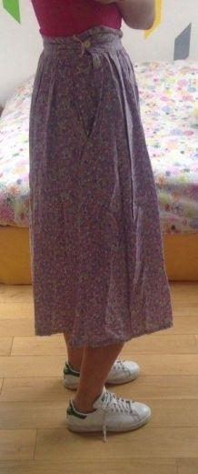 Jupe midi vintage en coton taille 36