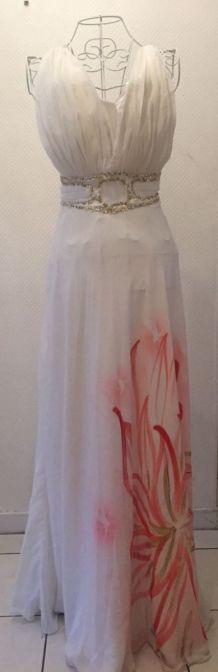 Robe de Soirée Ceinture Strass + Imprimé Fleur