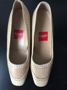 Chaussures colors blanc/beige Hasley Paris Made in France 40