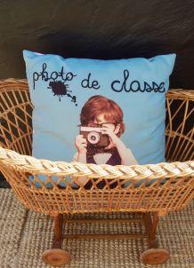 """Coussin thème vintage """"Photo de classe"""""""