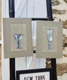 2 peintures sur toile et support bois shabby