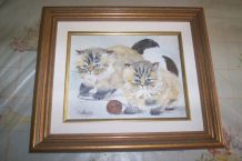 PEINTURE SUR TOILE CHATONS SIGNEE CATHYVES