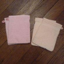 Lot De 4 Gants De Toilette 100% Coton Rose Et Saumoné- Neufs