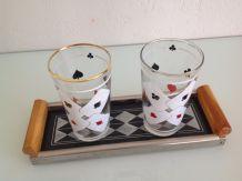 Set 2 verres vintage motifs cartes à jouer avec petit platea