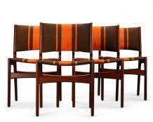 4 Chaises à rayures orange en teck