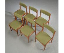 6 Chaises vertes en teck – Erik Buck