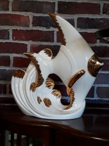 grand poisson porcelaine art deco