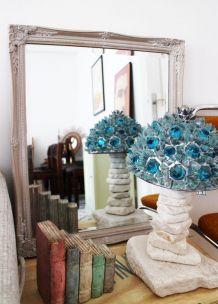 Miroir ancien gris de Naples années 50
