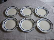 6 assiettes faience Badonviller decor geometrique bleu