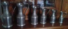 Série de 6 pots en étain