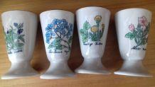 4 mazagrans motif fleur