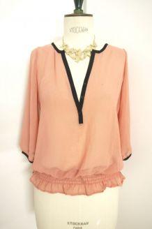 Top blouse chemisier rose liseré noir Naf naf romantique