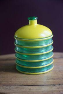 Pot couvert design vintage vert et jaune années 50