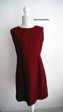 Robe en laine rouge chiné vintage 60's