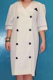 robe droite chemise blanche T48-50 vintage /retro