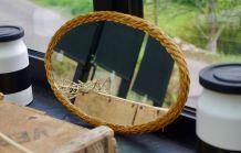 Miroir vintage rotin ovale