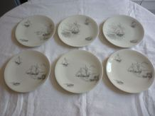 6 assiettes porcelaine Limoges Raynaud decor voiliers