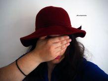 Chapeau en feutre/laine rouge bordeaux vintage 60's