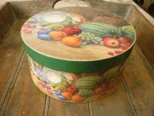 Boîte ronde carton  - décor de fruits
