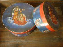 Lot de 2 boîtes rondes carton à décor d'anges