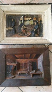 Lot 2 tableaux en relief gravure bois