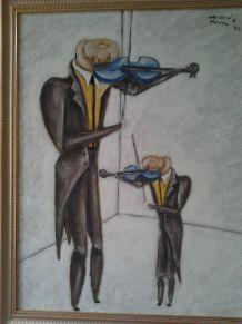 tableau peint + cadre signé