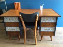 Bureau vintage année 50 avec chaise