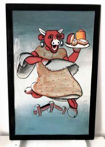 """Tableau décoratif en bois sculpté style """"Vache qui rit"""""""