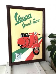 """Tableau décoratif en bois sculpté """"Vespa grand Sport"""""""