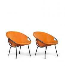 Chaises Ballon en Cuire Orange