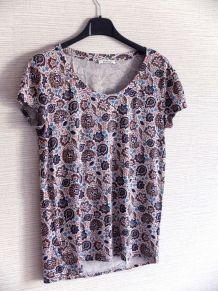 T shirt motif fleurs promod