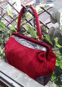 Sac velours rouge Vintage