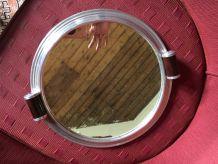 Plateau miroir metal argenté art déco