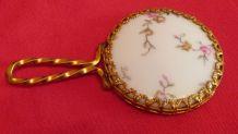 Très ancien miroir en porcelaine de limoges
